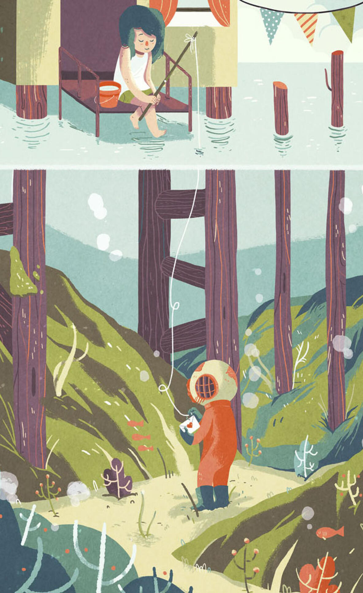 An illustration of a love letter exchanged between a diver and a fisher person.  ; Ann Macarayan