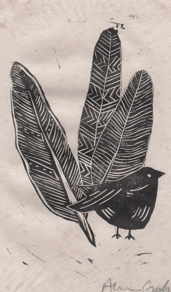 Linocut print of a bird and three feathers on handmade paper. ; Alexandra Graham