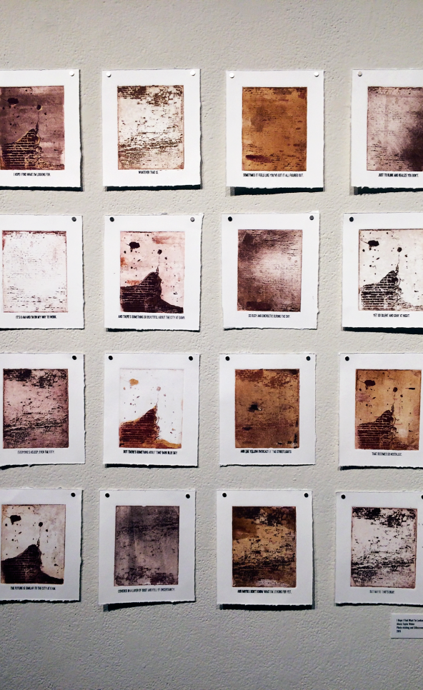 Printmaking collection of 16 displayed on a gallery wall. ; Alexis Weber