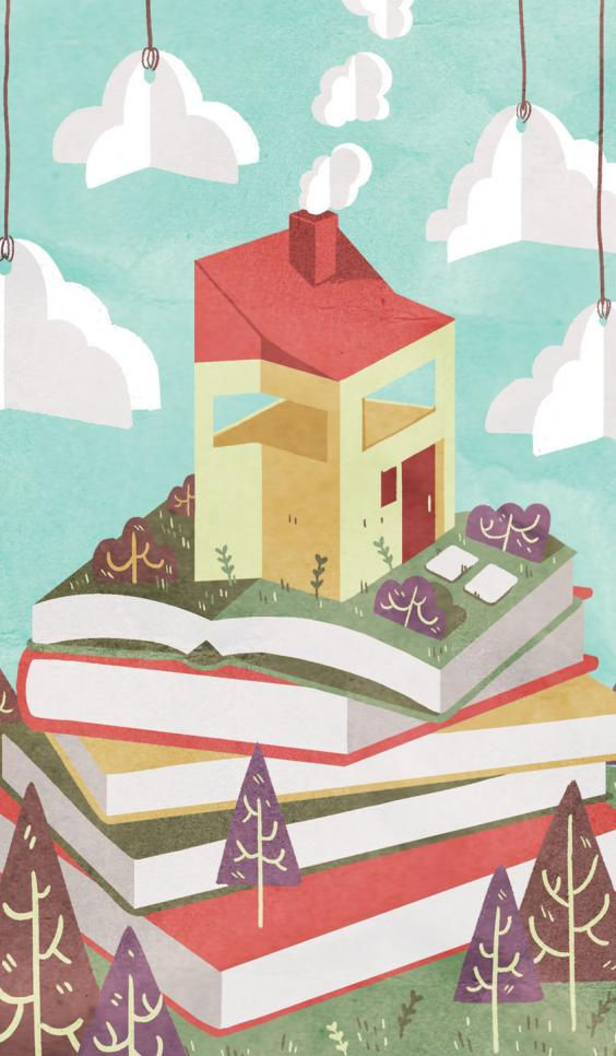 A brightly colored and textured house positioned happily on a hill of books. ; Ann Macarayan