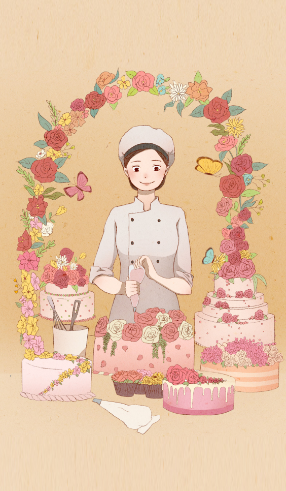 Illustration with baker and pastries ; Yimin Pi