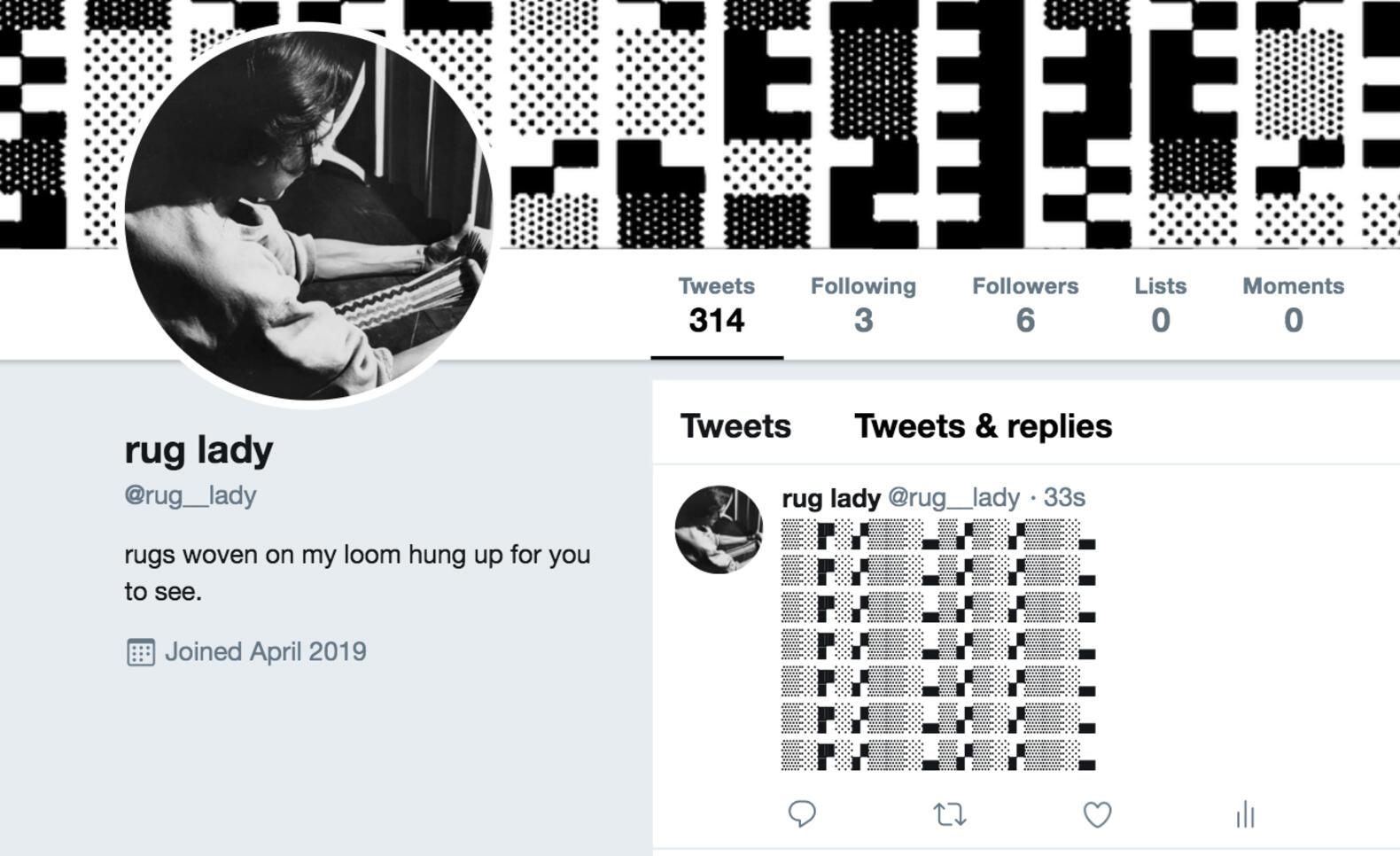 Twitter profile page of Rug Lady ; Katherine Kisin