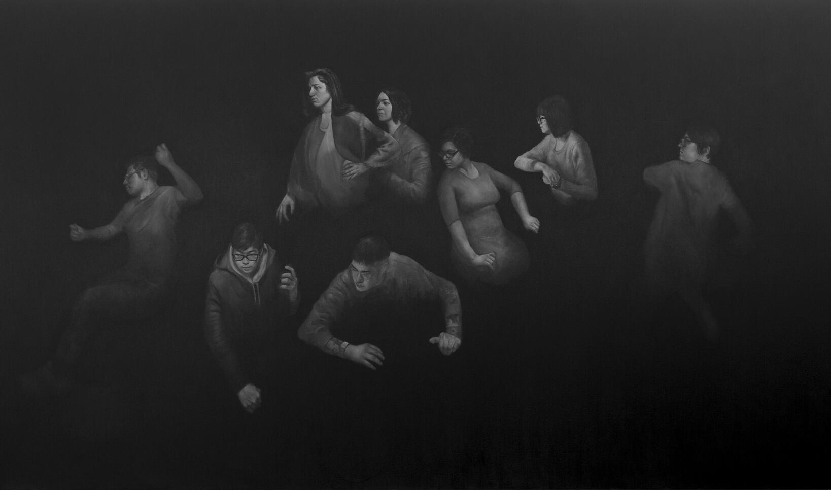 Oil on canvas painting of immigrants in the dark ; Jonathan Aller