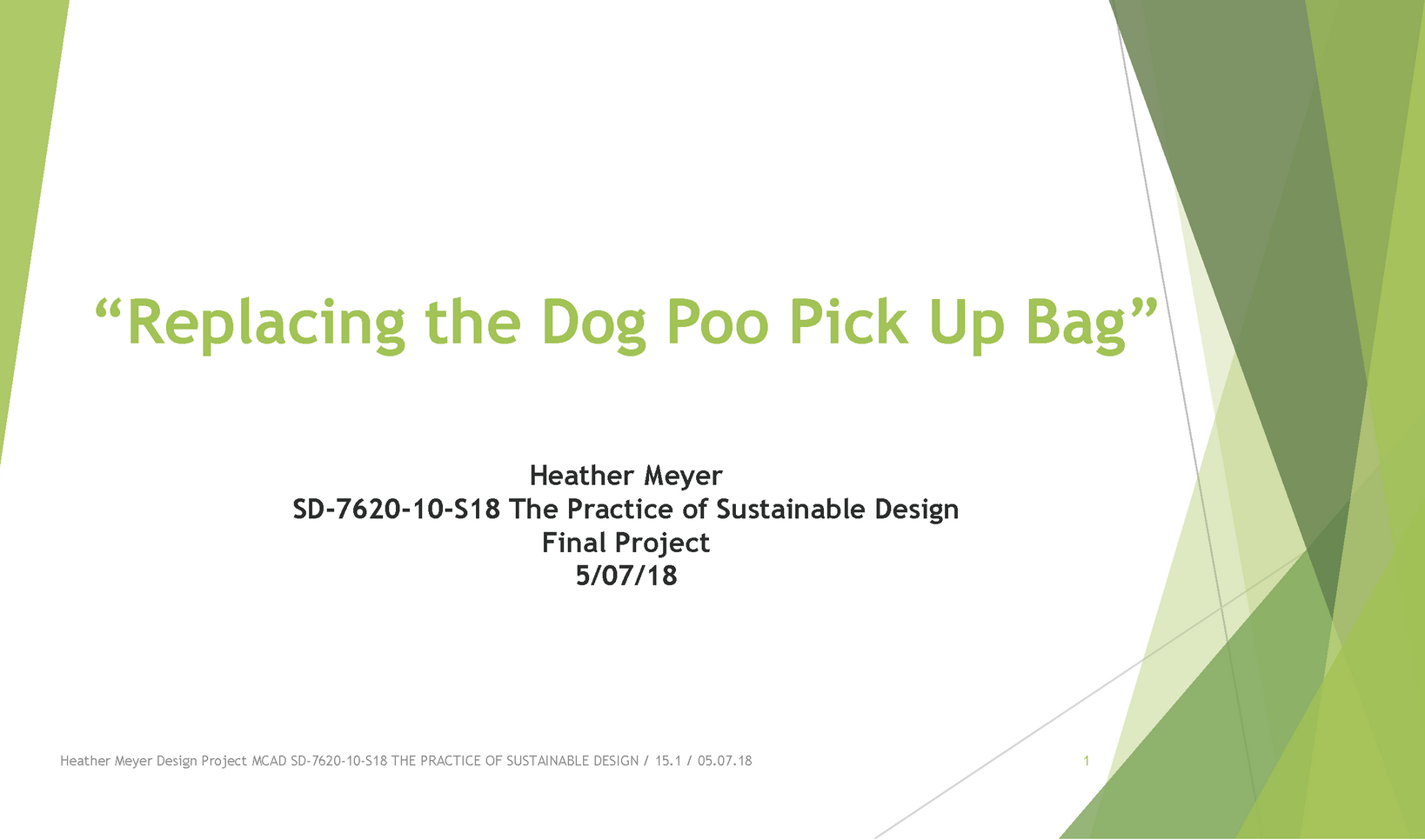 Sustainable Design Project Presentation ; Heather Meyer
