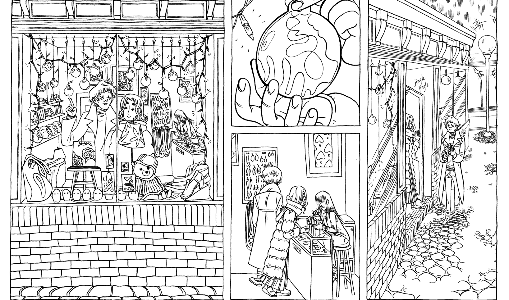 Two characters enjoying shop ornaments in this wintery comic. ; Edith Voges