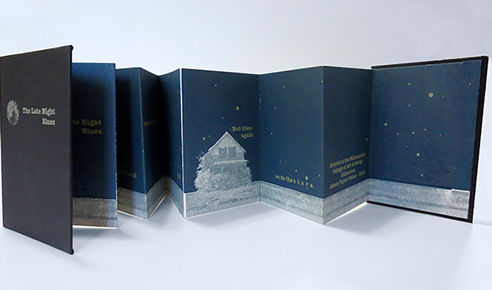 """Printed accordion book titled, """"The Late Night Blues."""" ; Alexis Weber"""