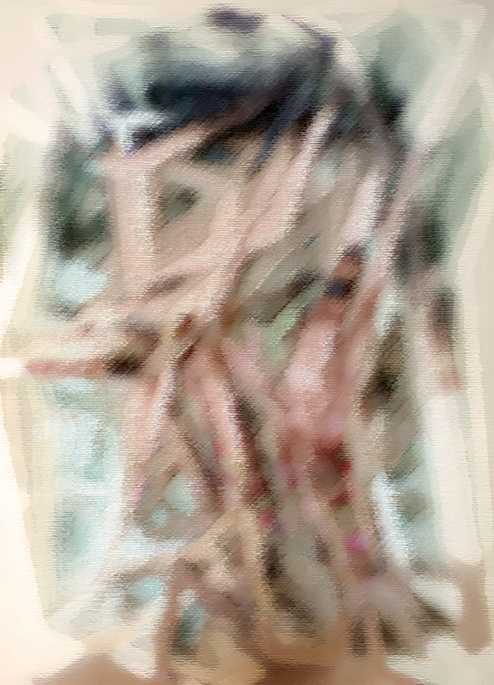 An abstract representative portrait in a pastel color palette.  ; Brittni Krieger