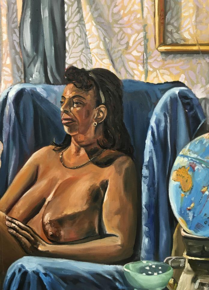 Figure painting with rich blues and browns to render the globe, drapery, and model. ; Kira Fennell