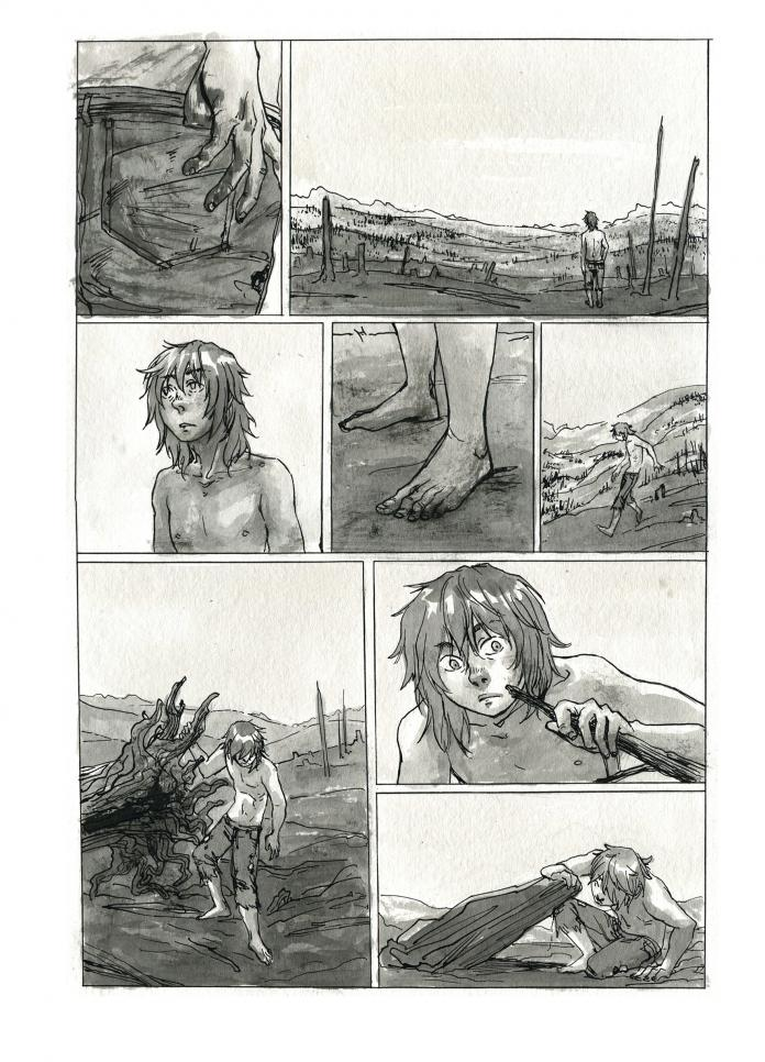 Multivalued comic page of a figure searching the dirt for a plant. ; Sharon Sun